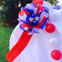 Fourth of July tutu set chevron red white blue matching hair bow 4th patriotic