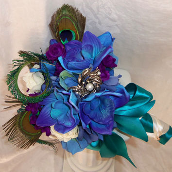 Real Touch Blue Dendrobium Orchid- Brooch Bouquet- Peacock Feather Wedding Bouquet- Custom Order