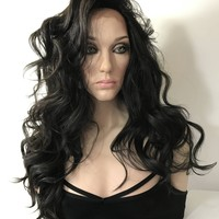 Very Dark Brown Curls SWISS Lace front wig 24""