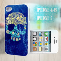 unique iphone case, i phone 4 4s 5 case,cool cute iphone4 iphone4s 5 case,stylish plastic rubber cases cover, blue yellow floral skull  1013