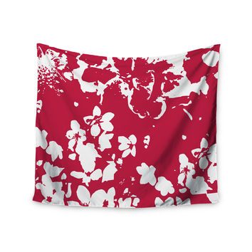 """Love Midge """"Helena Floral Magenta"""" Red White Wall Tapestry"""