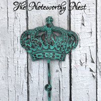 Crown Hook // Verdigris Crown // Cast Iron Wall Hook // Cast Iron Crown Hook // Cottage Decor // girls room // Princess Decor // key hook