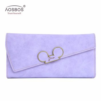 Aosbos Fashion Hot Hit Color Scrubs Women Wallet Ladies Long Swash-lid Tri-fold Mickey Head Purse Slim Phone Coin Pocket Wallets