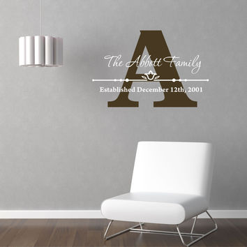 Personalized Custom Family Name Vinyl Wall Decal Sticker