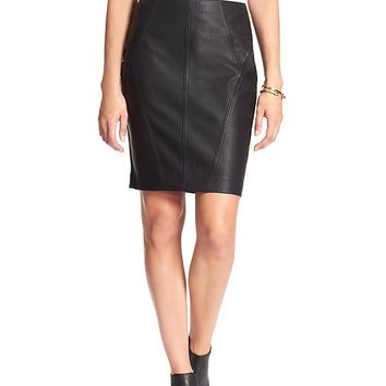 Banana Republic Womens Factory Faux Leather Ponte Skirt