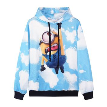 S--XL New Kawaii Womens Cartoon Hoodies Despicable Me Print 3d Sweatshirt Minions Cloud Sweatshirts Hooded Clothes Harajuku