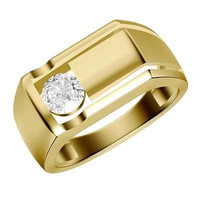 DASHING SINGLE CZ SOLITR 925 STERLING SILVER ENGAGEMENT AND WEDDING BAND FOR HIS