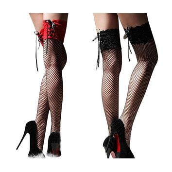 New Hosiery Nets Sexy Sheer Fish Net Lace Top Thigh High Stockings Black