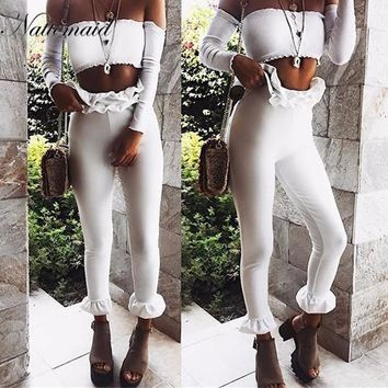 Autumn winter women High Waist pants women Casual Solid Color Ruffles Trousers