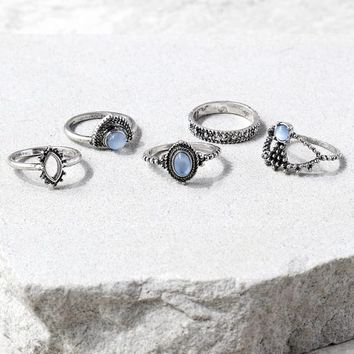 Simply Charmed Light Blue and Silver Ring Set