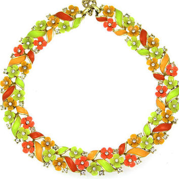 1950s Vintage Necklace, Rhinestone, Enamel and Plastic Flowers, Citrus Colors, Free Shipping