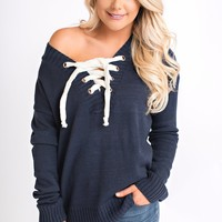 Plano Lace Up Sweater (Navy)