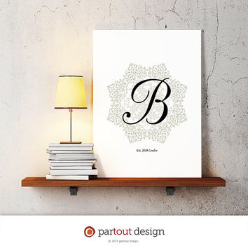 baby nursery art, monogram logo design, personalized gift, name initial art print, DIY printable art, home decor, nursery decor, wall art