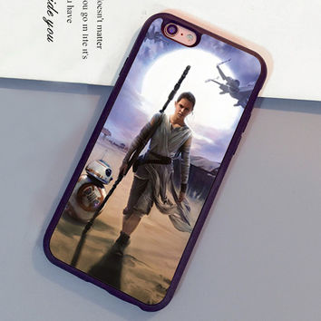 Star Wars Rey and BB-8 Printed Soft Rubber Mobile Phone Cases OEM For iPhone 6 6S Plus 7 7 Plus 5 5S 5C SE 4S Back Shell Cover