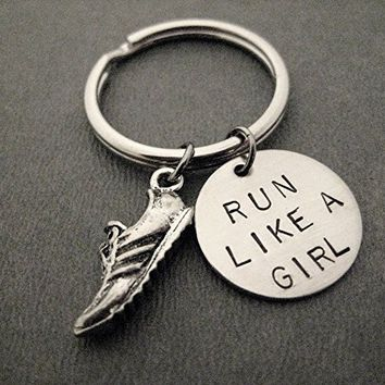 RUN LIKE A GIRL with Running Shoe Charm Key Chain - Pewter Running Shoe Charm and Hand Stamped Round Nickel Silver Pendant on Stainless Steel Round Key Ring