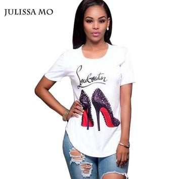 Julissa Mo Leisure T Shirt Women Casual High-Heeled Shoes Printing Graphic Tee Shirts Plus Size Summer Cropped Tops