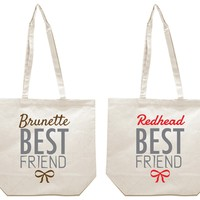 Brunette and Redhead Best Friends Girl BFFS Canvas Tote Bag