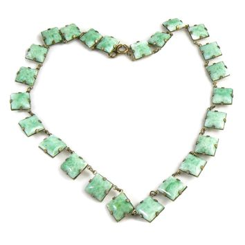 Vintage Art Deco Peking Glass Collar Necklace