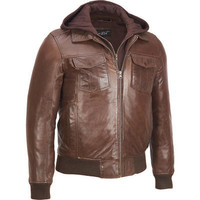 Black Rivet Leather Bomber Jacket w/ Removable Hood - Bomber - Men's - Wilsonsleather - Categories - Wilsons Leather