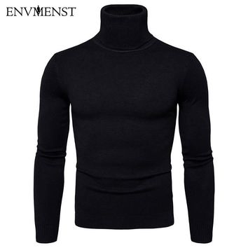 Turtleneck Solid Color Sweaters Slim Fit Pullover Men Knitwear Winter Thick Warm Double Collar Sweater