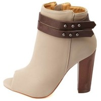 Dollhouse Belted Chunky Heel Peep Toe Booties - Gray