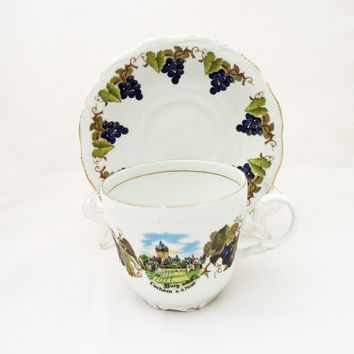 Vintage Kunst-Palette Regnitzlosau K  T Bavaria Tea Cup and Sauser, Grape Design, UK Seller