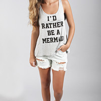 be a mermaid tank - heather grey