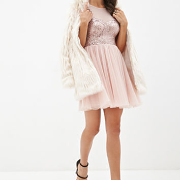 FOREVER 21 Sequined Tulle Tea Dress Rose