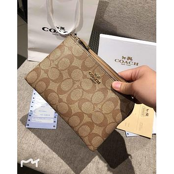 COACH 2019 new single zipper female with wrist strap clutch khaki
