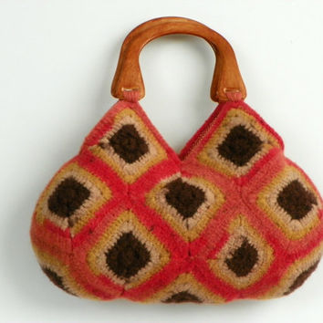 NzLbagsFelted Wool Crochet Granny Square Handbag by NzLbags