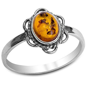 Amber Sterling Silver Victorian Style Small Oval Ring