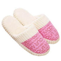 women winter Home Floor Soft Slippers Cotton-padded Shoes