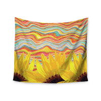 """Suzanne Carter """"Sunflower Dreaming """" Yelllow Teal Wall Tapestry"""