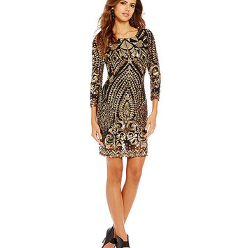 Gianni Bini Colette Baroque-Print Sequined Sheath Dress | Dillards