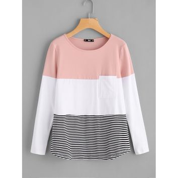 Cut And Sew Pocket Front Top Multicolor