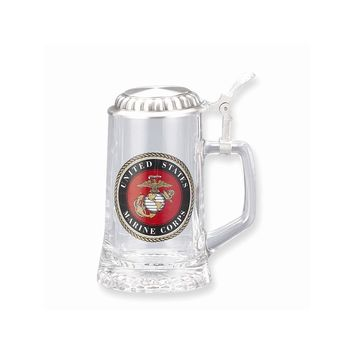 US Marine Corps Removeable Lid 13.5oz Glass Stein - Etching Gift Item