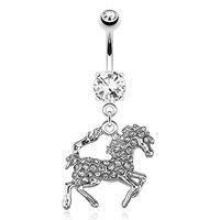 Horse / Pony with Paved Gems 316L 14GA Dangle Navel Belly Ring