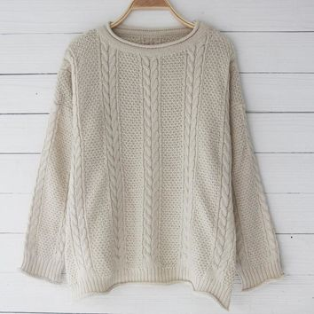 Knit Tops Winter Women's Fashion Plus Size Hollow Out Sweater [11335930439]