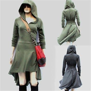 Glane 2017 Women Long Sleeve High Low Hoodie Dress Club Party Mini Day Beach Cover Ups