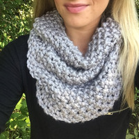 Women's Knitted Cowl Scarf - Gray Cowl - Loop Scarf - Grey
