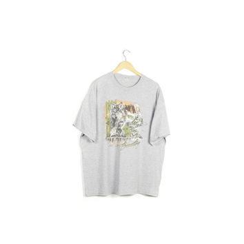 90s WOLF COUNTRY tee / vintage 1990s shirt / wolf pack / wolves / full moon / howling / nature / desert  / baggy / outdoors /animals / XL