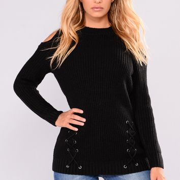 Crosstown Cold Shoulder Sweater - Black