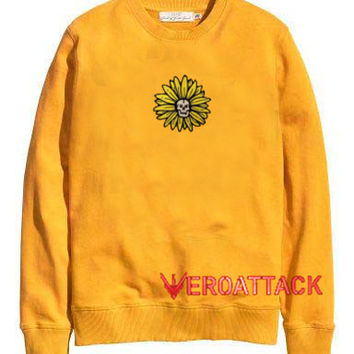 Daisy Skull Sun Flower gold yellow Unisex Sweatshirts