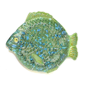 Ceramic Fish Serving Plate on Wall Hanger - Hand Painted Retro Art in Aqua Green, Blue & Turquoise - Vintage Home Kitchen Decor