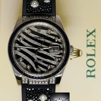 Rolex Datejust 18k White Gold Diamond & Sapphire Watch & Box 116199 Black Zebra