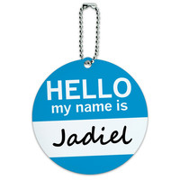 Jadiel Hello My Name Is Round ID Card Luggage Tag