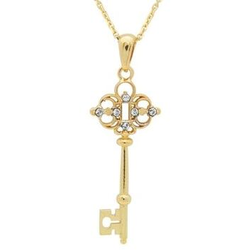 18k Gold Plated Sterling Silver Victorian Key