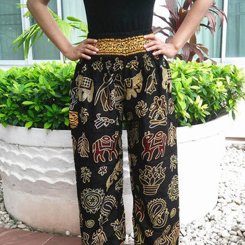 Black Elephant Yoga Pants Harem Boho Style Printed Unisex Casual Aladdin Fisherman Hippie Massage Cotton pants elephants Gypsy Thai Women