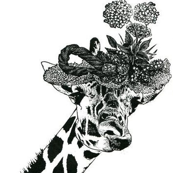 Female Giraffe wearing flower hat original art print ink jungle safari animal black and white art kids room nursery living room home decor