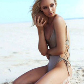 Solid Low Back Lace Up Side Swimsuit